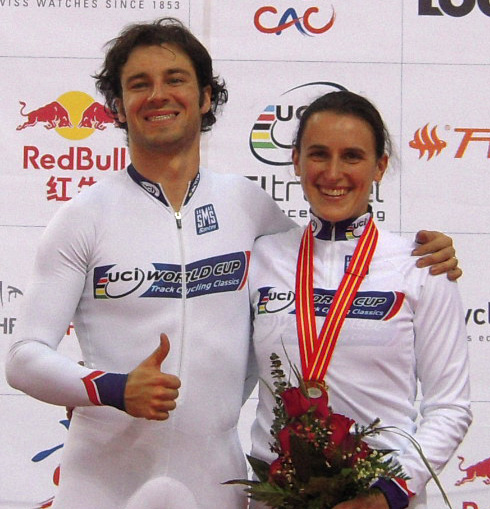 Overall WCup Omnium champs Zach Bell and Tara Whitten at Track WCup in Beijing.  ©  Cycling BC