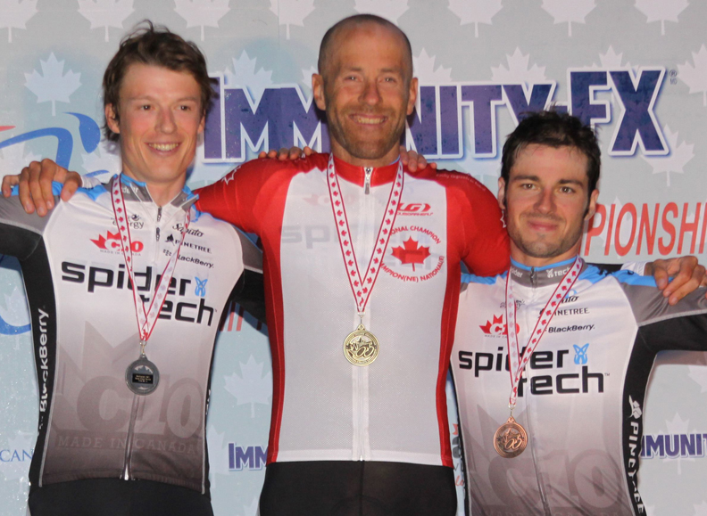 SpiderTech sweep on the Elite Men's RR podium (l-r) Routley 2nd, Tuft 1st, Bell 3rd.[P]Chris Redden