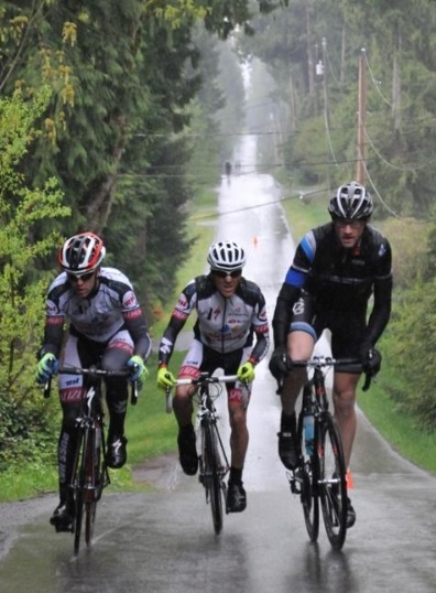 (l-r) 2013 Canadian TT Champion, Jeff Werner, and Dave Gerth break away in the Men's road race at Race the Ridge.  ©  Paul Craig