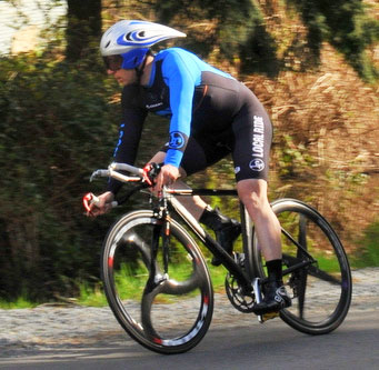 Local Ride Racing's Julian Base (Vancouver) in last year's individual time trial. [P] Paul Craig.