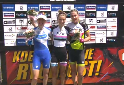 Final podium (l-r) Pendrel 2nd, Ferrand Prevost 1st, Dahle Flessja 3rd