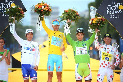Final jerseys (l-r) Pinot, Nibali, Sagan, Majka [P] Cor Vos