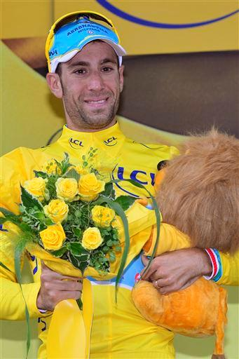 Vincenzo Nibali (Ita) Astana Pro Team in yellow after Stage 3. [P] Cor Vos