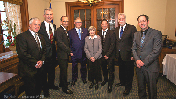 (l-r) François Paradis (MNA from Lévis); Stéphane Garneau (son of deceased journalist, Richard Garneau); Louis Garneau; Jacques Chagnon (House speaker); Louise Brissette; François-Guy Thivierge; Philippe Couillard (Premier); Stéphane Bédard (Leader of the Official Opposition)  ©  Patrick Lachance