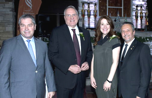 (l-r) Yves Bolduc-Minister of Education, Recreation and Sports, Ken Dryden, Clara Hughes, Jacques Baril-Chairman of the Board of Directors Pantheon Quebec Sports [P] Rodger Brulotte, Journal de Montreal