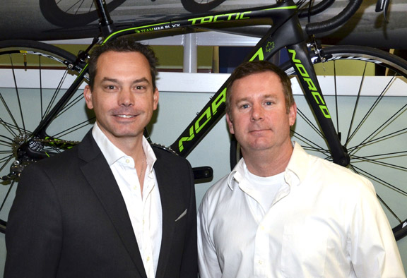 Mark Ernsting with Chris Cook, Marketing Manager-Norco Bicycles [P] courtesy of M1 Pro Cycling Project