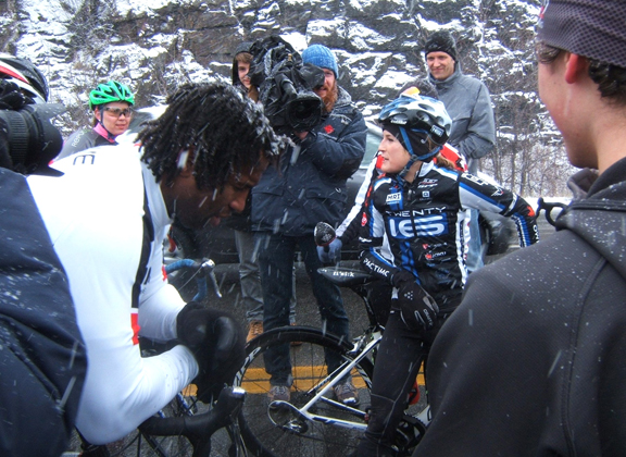 Laraque (l) hunched over at the finish [P] John Symon