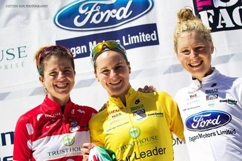 Stagee 3 Jerseys (l-r) Stevens (KOM), Guarnier (GC), Pilote-Fortin (Best Young Rider) [P] WTNZ