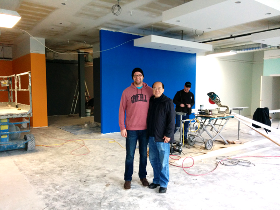 Chris Ryskamp (left) with John Koo, VP of Giant Global (right) standing on the under-construction retail floor of Giant Langley.  ©  courtesy of Giant Bicycles Canada