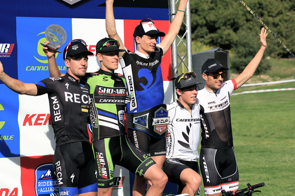 Elite Men's podium with Gagne 1st and Plaxton 2nd  ©  Ridebiker Alliance
