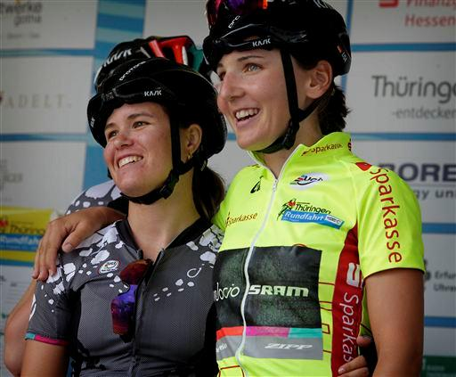 Canuel (Can) and teammate Lisa Brennauer (Ger) [P] Cor Vos
