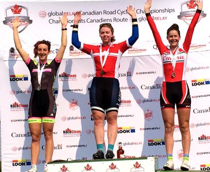 Junior Women's Crit podium (l-r) Coles-Lyster 2nd, Harvie 1st, Maine 3rd [P] Jess Grand Bois/Cycling Canada