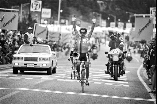 Moreno Argentin (Ita) wins the 1986 Road Worlds RR in Colorado Springs [P] Cor Vos