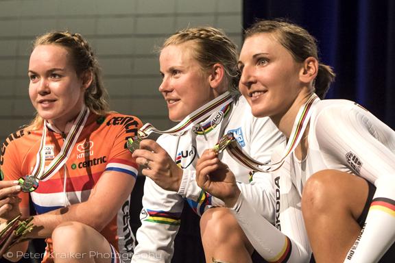 Elite Women's podium (l-r) Van Der Breggen 2nd, Villumsen 1st, Brennauer 3rd [P] Peter Kraiker