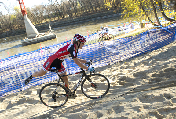 Mical Dyck in the sandpit at 2014 Canadian Cyclocross Championships in Winnipeg [P] David Lipnowski