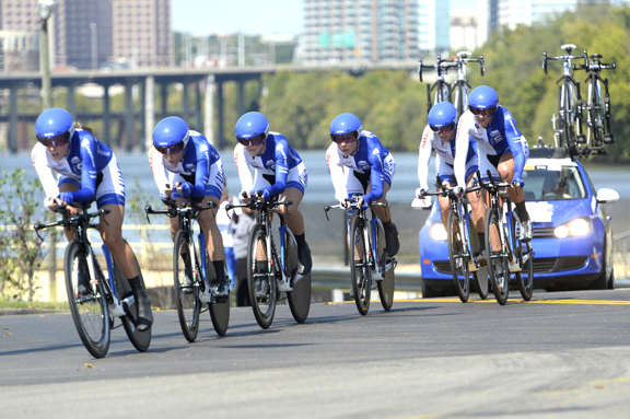 Unitedhealthcare Women's squad in Team Time Trial at 2015 Road World Championships in Richmond [P]