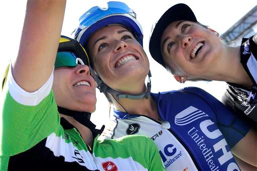 (l-r) Alison Tetrick (USA) Cylance Pro Cycling, Annie Ewart (Can) UnitedHealthCare), Leah Kirchmann (Can) Liv - Plantur at the Ladies Tour of Qatar [P] Cor Vos