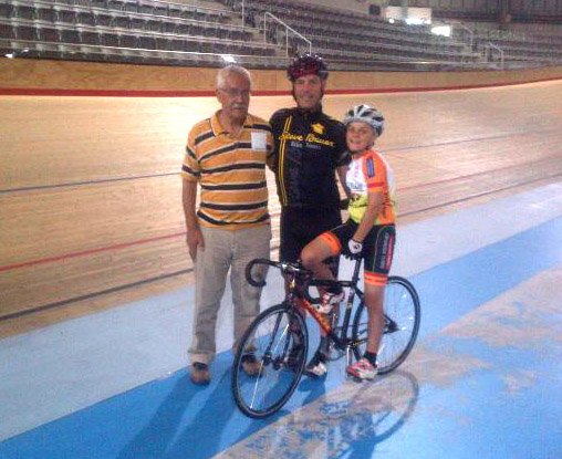 Colin Hearth (l) and Steve Bauer with son Dean at the Milton velodrome. [P] courtesy of Steve Bauer