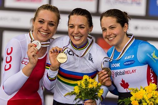 Women's IP podium (l-r) Malgorzata Wojtyra, Rebecca Wiasak, Annie Foreman-Mackey  ©  Guy Swarbrick