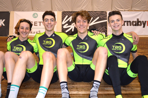 TaG Race Team Track (l-r) Maggie Coles-Lyster, Cam Fitzmaurice, John Willcox, Tyler Davies. [P] TaG Cycling