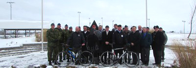 Representatives gather to announce the  Highway of Heroes Bike Ride. [P] CNW Group/Wounded Warriors Canada