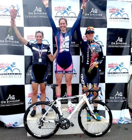 Women's podium (l-r) Fader, Watters, Gilgen  ©  courtesy of Opus-The Cyclery