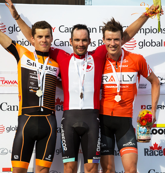 Elite Men's Podium (l-r) Perry 2nd, Langlois 1st, Routley 3rd [P] Ivan Rupes