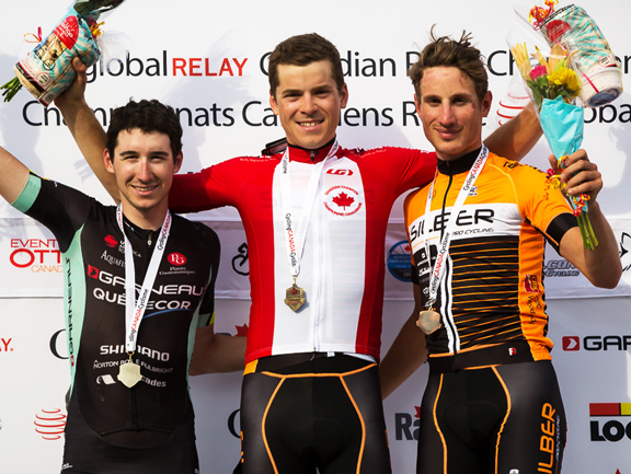 U23 Men's podium (l-r) Brisebois 2nd, Perry 1st, Masbourian 3rd [P] Ivan Rupes