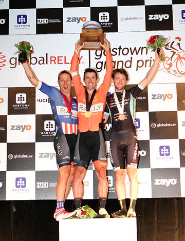 Men's podium (l-r) Huff 2nd. Young 1st, Rice 3rd [P] Greg Descantes