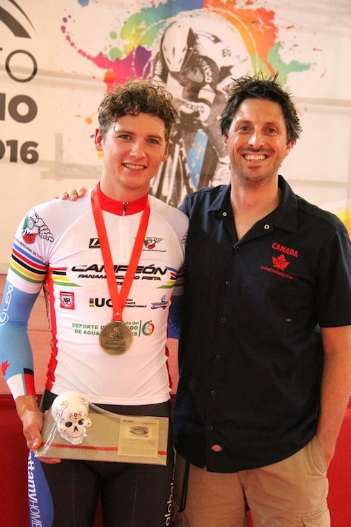 Aidan Caves with coach Ian Melvin [P] Cycling Canada