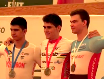 Canada's Stefan Ritter (r) won the bronze in the Kilo and set a Junior world record [P]
