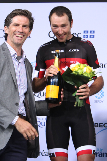 John Tolkamp celebrates with Ryan Anderson at the Grand Prix Cycliste, Montreal [P] Peter Kraiker