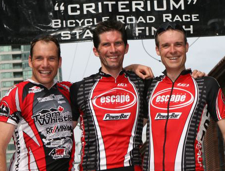 Tolkamp (centre) wins the Masters Men at the Yale Town Grand Prix in 2006 [P] CBC