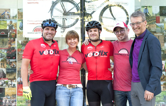 (l-r) Brian Williams (Atlanta Georgia, new Velofix franchisee), Joan Swain (local World Bike Relief organizer), Boris Martin (Velofix co-founder), Thomas Eleizegui (Musette Cafe owner), Alex Stieda [P] Heinz Ruckemann