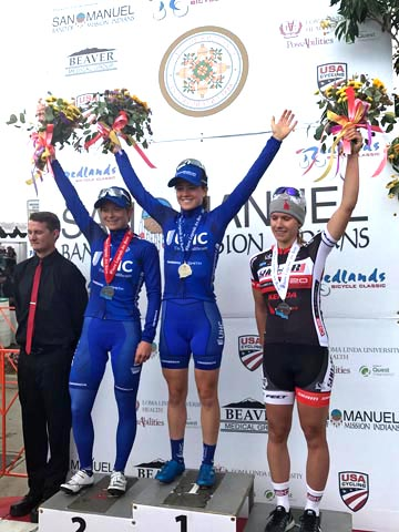 Woman's podium (l-r) Hall 2nd, Winder 1st, Duehring 3rd [P] Redlands Bicycle Classic