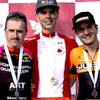 Elite Men's final podium (l-r) Soucy, Dal-Cin, Cote [P] Peter Kraiker